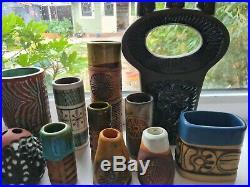 12 x Studio Pottery, Bob Dawes, Guy Sydenham Atlantis, Poole, Langley, Tremar
