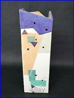 17 Vtg Rita Duvall Signed 1985 Postmodern Art Deco Slab Pottery Vase Rare