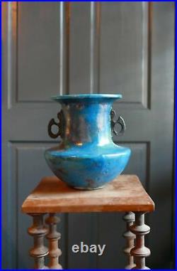 1980's Raku Fired Double Winged Vase by Ceramic Artist John Bedding