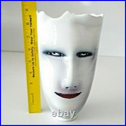 1998 Ceramic Vase Hand Painted White Glaze 2 Faces Signed by Bing Gleitsman