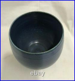(3) Orig. Signed pcs. Scheier Studio Pottery NH Sgraffito Bowl & Plate Blue Vase