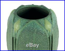 8 1/2 Jemerick Arts & Crafts Style Studio Pottery Vase Matte Green Yellow Buds