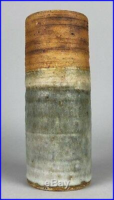 ALAN WALLWORK (BRITISH b1931)- STUDIO ART POTTERY STONEWARE CIRCLE CYLINDER VASE