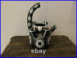 A Funky Post-Modern Italian Pottery Vase Memphis Milano Design Era