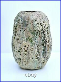 Aki Moriuchi. Vase.'Geological' glaze. C. 1980s. Signed. Perfect. With stand