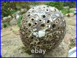 Alan Wallwork Hand Built Stoneware Pierced Sphere Vase1990s Rubbed With Porcelain