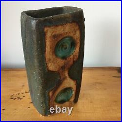 Alan Wallwork Studio Pottery Patterned Tall blue Slab Vase. 1960's. 8 x 16cm