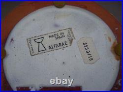 Alfaraz Large Pottery Vase MCM Bull Motif Made In Spain 15 3/4 Tall