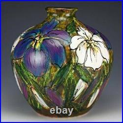 Anita Harris Art Pottery, Rare Stoneware Iris Garden Large Onion Vase, Signed