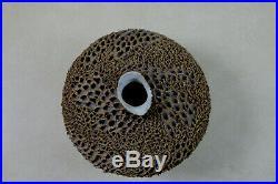 Anne Goldman Organic Brutalist Studio Art Pottery Vessel Heavily Textured