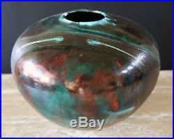 Anthony Tony Evans / Raku Centerpiece Art Pottery Vase / Signed #247