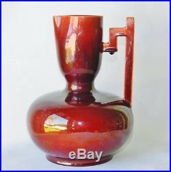 Antique Christopher Dresser for Samuel Lear 8 Superb Oxblood Ceramic Vase