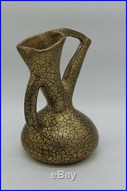 Antique c1900 Edmund Elton Sunflower Crackle Glaze Pottery Vase Jug Ewer