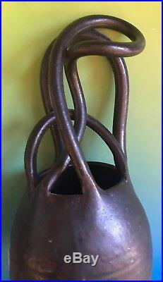Art Pottery Black Ceramic Vase Unique Swirl Handle Sculpture Ceramic