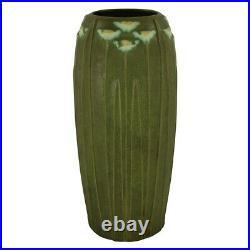 Arts And Clay Jemerick Pottery 1998 Grueby Green White Daisy Floor Vase