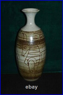Arts And Crafts Style Flower Vase By San Diego Master Potter David Cuzick (#2)