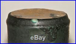 Arts & Crafts HEAVY Matte BLACK & Turquoise GREEN LAVA GLAZE VASE Cylinder EX