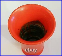 Awaji Pottery Atomic Chrome Red Vase Art Deco Japanese Vintage Studio