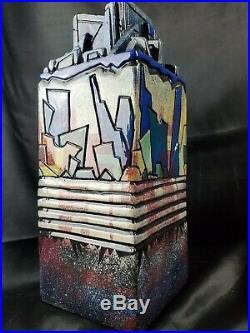 BIG vintage mid century modern pottery vase Geometric Abstract Cubist Signed