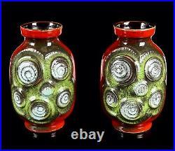 Bay Keramic West German Studio Art Pottery Red/green/blue Vases Pair 84-20