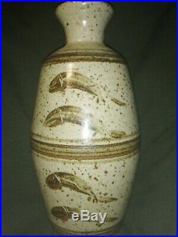 Bernard Leach Leaping Salmon Studio Pottery Bottle Vase