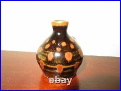 Bernard Leach's St Ives miniature vase, lovely temmoku glaze, excellent conditio