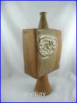 Betty Feves Studio Pottery Stylized Slab Vessel Ceramic Bud Vase Sculpture PNW