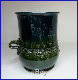 Bjorn Wiinblad Studio Pottery Vase Green Blue Face Early Piece Det Blaa Hus MCM
