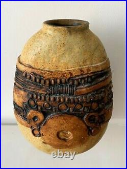 Brutalist Midcentury Stoneware Vase by Bernard Rooke