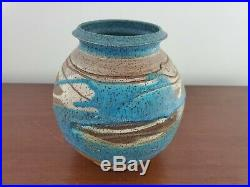 Charles Counts Blue White Brown Glazed Vase Signed Pottery