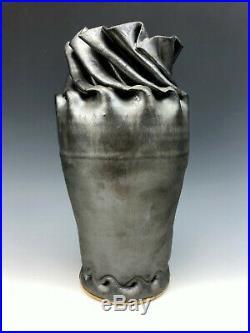 Clark House Pottery Ohrigami Folded George Ohr Style Vase Gunmetal Gray 2015