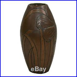 Clewell Owens Pottery Copper Clad Incised Lily Vase Shape 827
