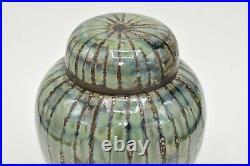 Cobridge Stoneware Green Stripe Large 8 Studio Ginger Jar Anita Harris 2002