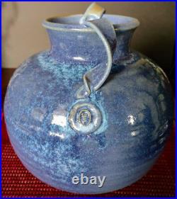 Cranbrook Pottery Cobalt Blue Glaze Stoneware Double Handled Bowl-Vase 1920-30's