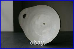 DAME LUCIE RIE British studio pottery stoneware WHITE PLATE WITH HANDLE c1950s