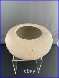 David Leach Shallow Studio Pottery Crackle Glaze Vase
