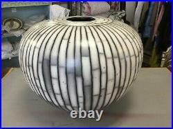 David Roberts Studio Pottery Raku Vase 30cm High And 40cm Diametre