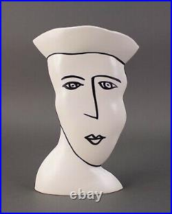 Donna Polseno Signed Studio Art Pottery Abstract Face Figural Vase Picasso Style