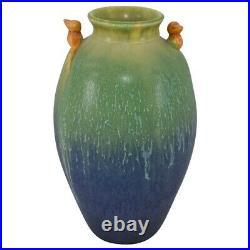 Door Pottery 2010 Dawns Duet Northern Lights Blue Glaze Bird Handled Vase