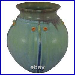 Door Pottery 2012 Experimental Green Blue Blended Prairie Globe Art Deco Vase