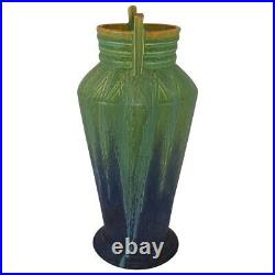 Door Pottery 2012 Product Development Matte Green Blue Carved Atomic Vase