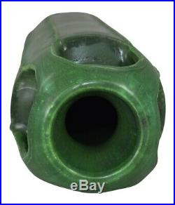 Door Pottery Four Handled Matte Green Arts and Crafts Vase