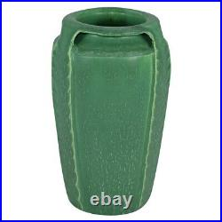 Door Pottery Matte Green Three Handled Reticulated Arts And Crafts Vase