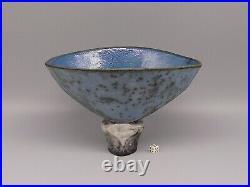Elizabeth Raeburn Raku Fired Blue Glazed Sculptural Vessel