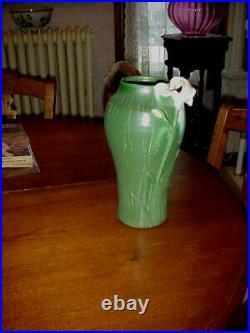 Ephraim Art Pottery Applied Iris Vase Laura Klein #112