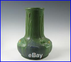 Ephraim Art Pottery Vase Green Glaze with Lily Pads and Frog by Jesse Wolf