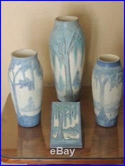 Ephraim Faience Art Pottery Spanish Moss Vase Discontinued, Newcomb Style