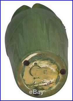 Ephraim Faience Pottery 2000 Experimental Matte Green Dragonfly Folded Rim Vase