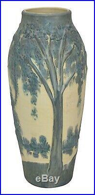 Ephraim Faience Pottery 2001 Summer Cypress Tree Scenic Vase 128