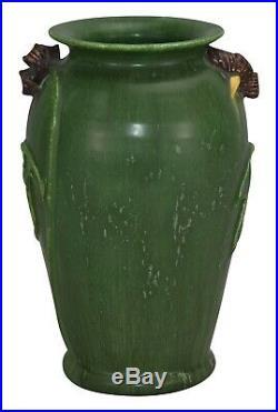 Ephraim Faience Pottery 2003 Night Shade Green Ceramic Vase 310